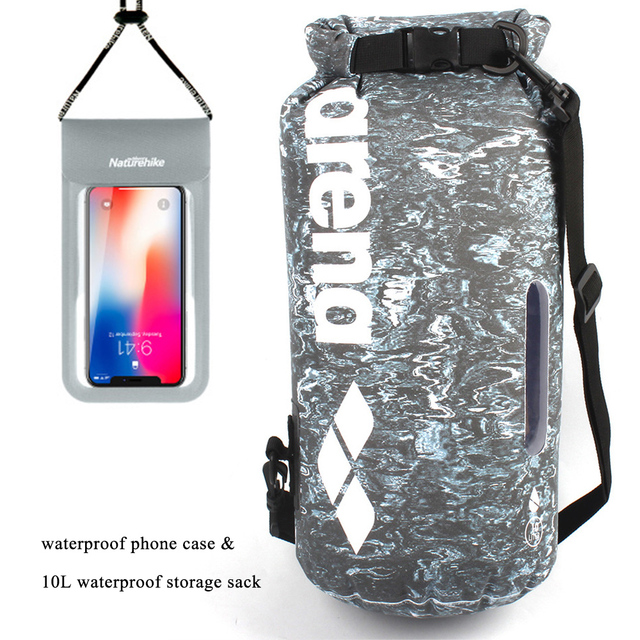 10L Waterproof Dry Bag with NatureHike Waterproof Phone Case Pouch For Camping Boating Kayaking Rafting Swimming Bags NH18S002-D