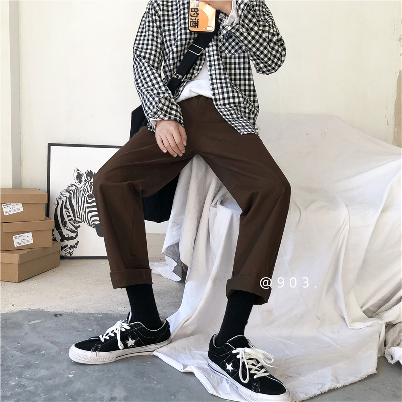 2019 New Spring And Summer Korean Version Of The Leisure College Style Fashion Couple Straight Sports Pants Cotton Joggers Best