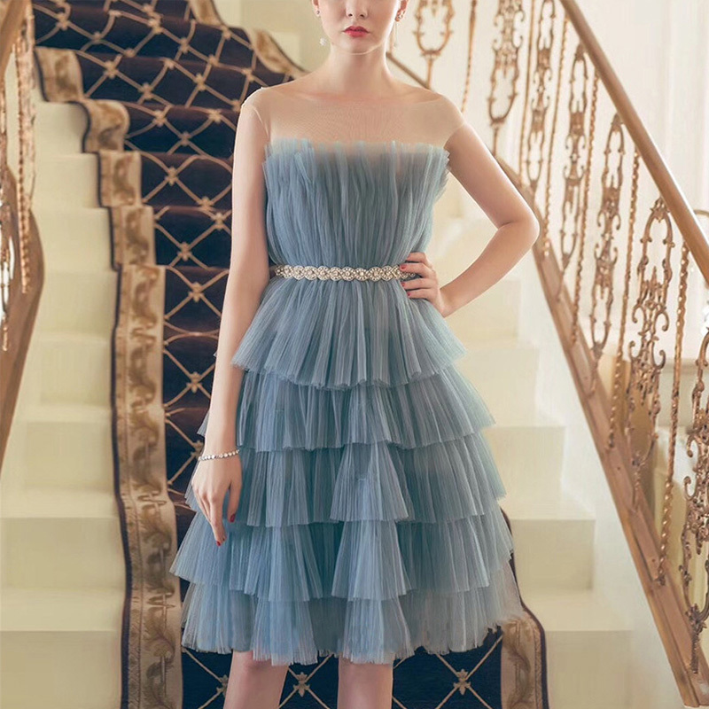 Robes de soirée femmes bleu rose luxe diamants taille Dec robes Sexy couches robe de bal sans manches volants robe gracieuse Dy288