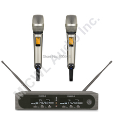 MiCWL SKM9000 2 Dual Channel Champagne Gold Black Digital Wireless Handheld Microphone System Stage Performance Mic