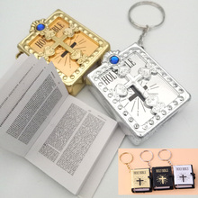 Mini English HOLY BIBLE Keychain Religious Christian Jesus Cross Keyring Bag Funny Book Key Chain Crystal Fashion Key Chain holy bible christian books in bible 25k the old and new testament book modern chinese english versions pocket size