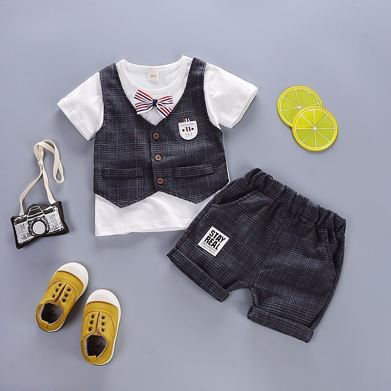Summer Children Boys Girl Cotton Clothes Infant Outfits Baby Kid Gentleman Bowknot Tie T Shirt 2pcs Set Toddler Fashion Clothing in Clothing Sets from Mother Kids