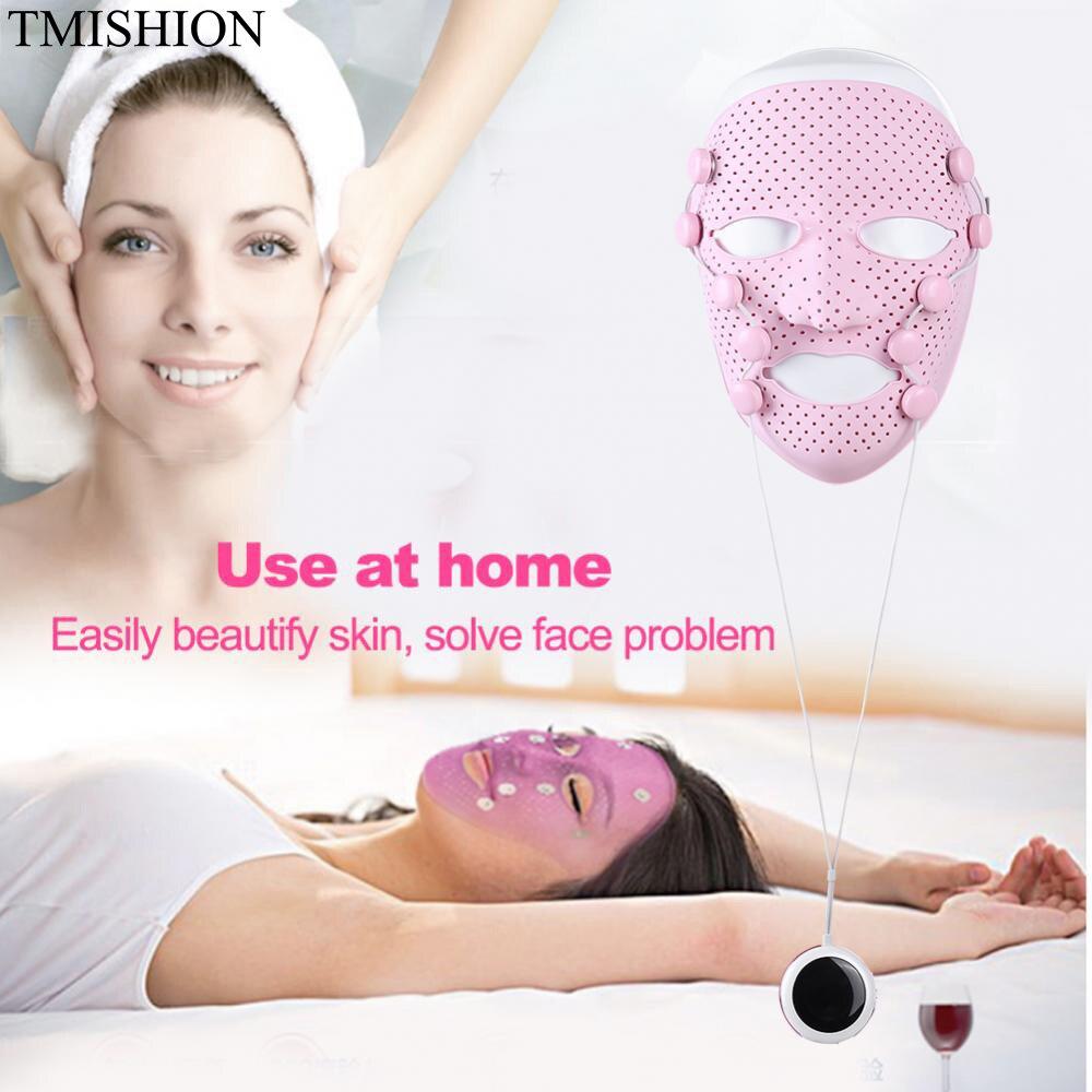 De silicona 3D máscara Facial eléctrico EMS vibración belleza del Massager del cuidado de la piel rejuvenecimiento Anti arrugas eliminación de acné cara belleza Spa-in Herramientas de cuidado de la piel para la cara from Belleza y salud    1