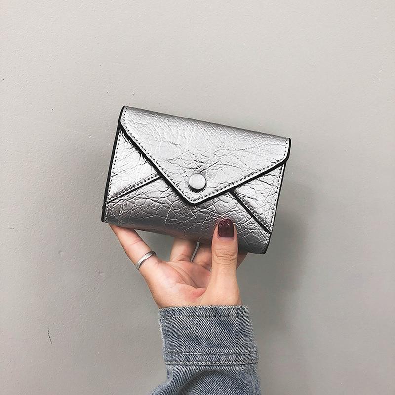 Wallet Korean Hand Fresh Zip Wallet Small Short Fashion Solid Color Leather Purse Ladies Simple Vintage Message Mini Wallet