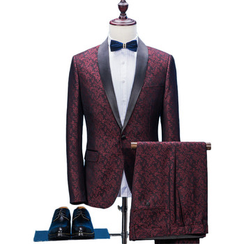 (Jacket Pants) 2020 new fashion men suit male wedding spring autumn red casual slim fit party dress suits