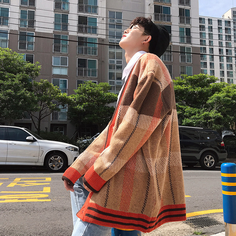 Winter Fashion Men 39 s New Cardigan Sweater M XXL Personality Casual Color Temperament Wild Youth Loose Single breasted Simple in V Neck from Men 39 s Clothing