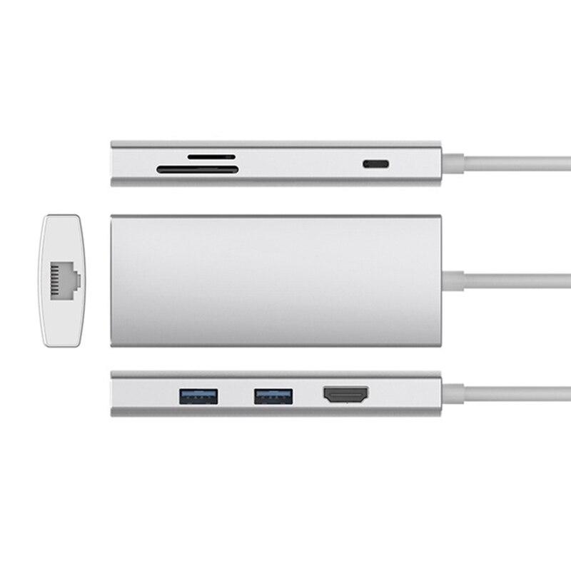 7 en 1 USB-C USB 3.1 Type C Hub vers HDMI SD TF lecteur de carte USB 3.0 1000 M RJ45 PD adaptateur de charge pour MacBook Samsung Galaxy