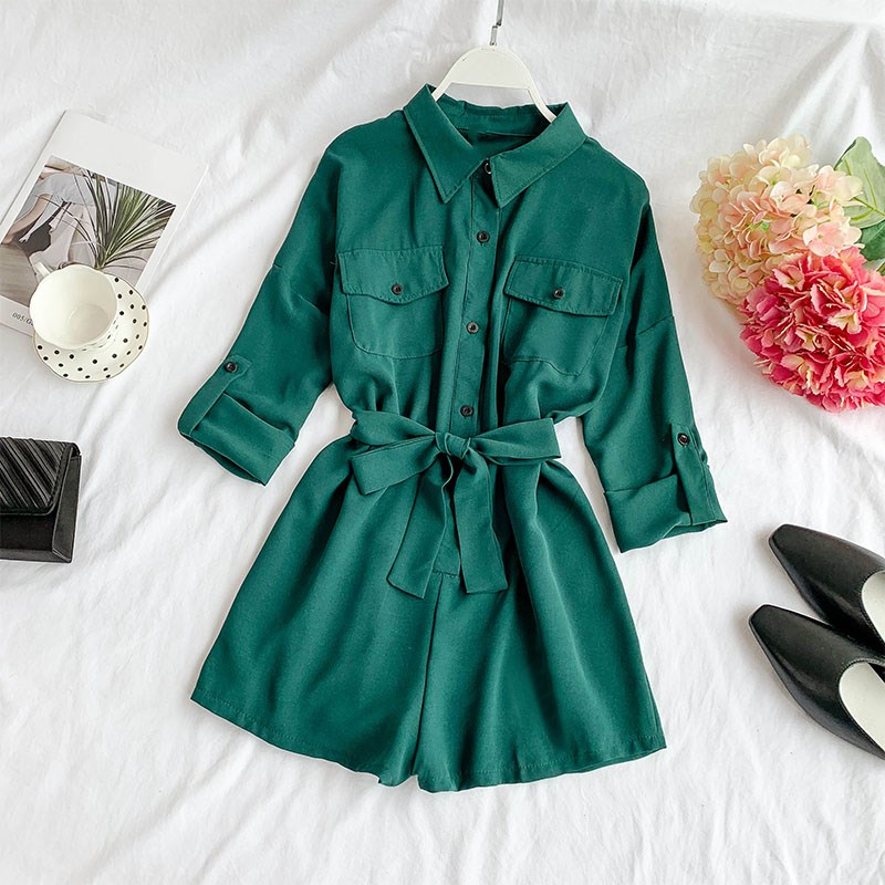 Chiffon Slim Casual Playsuits Women Casual Long Sleeve Solid Streetwear Rompers