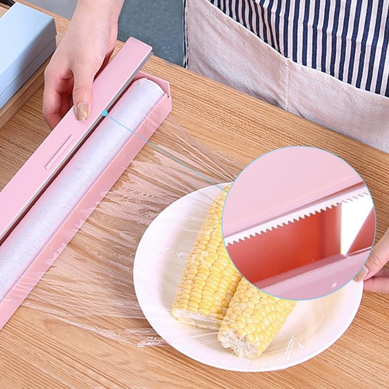 3 Colors Kitchen Fruit Food Fresh Gadget Dispenser Aluminum Foil Wax Paper Cling Film Cutter Stainless Steel Creative Box Tools