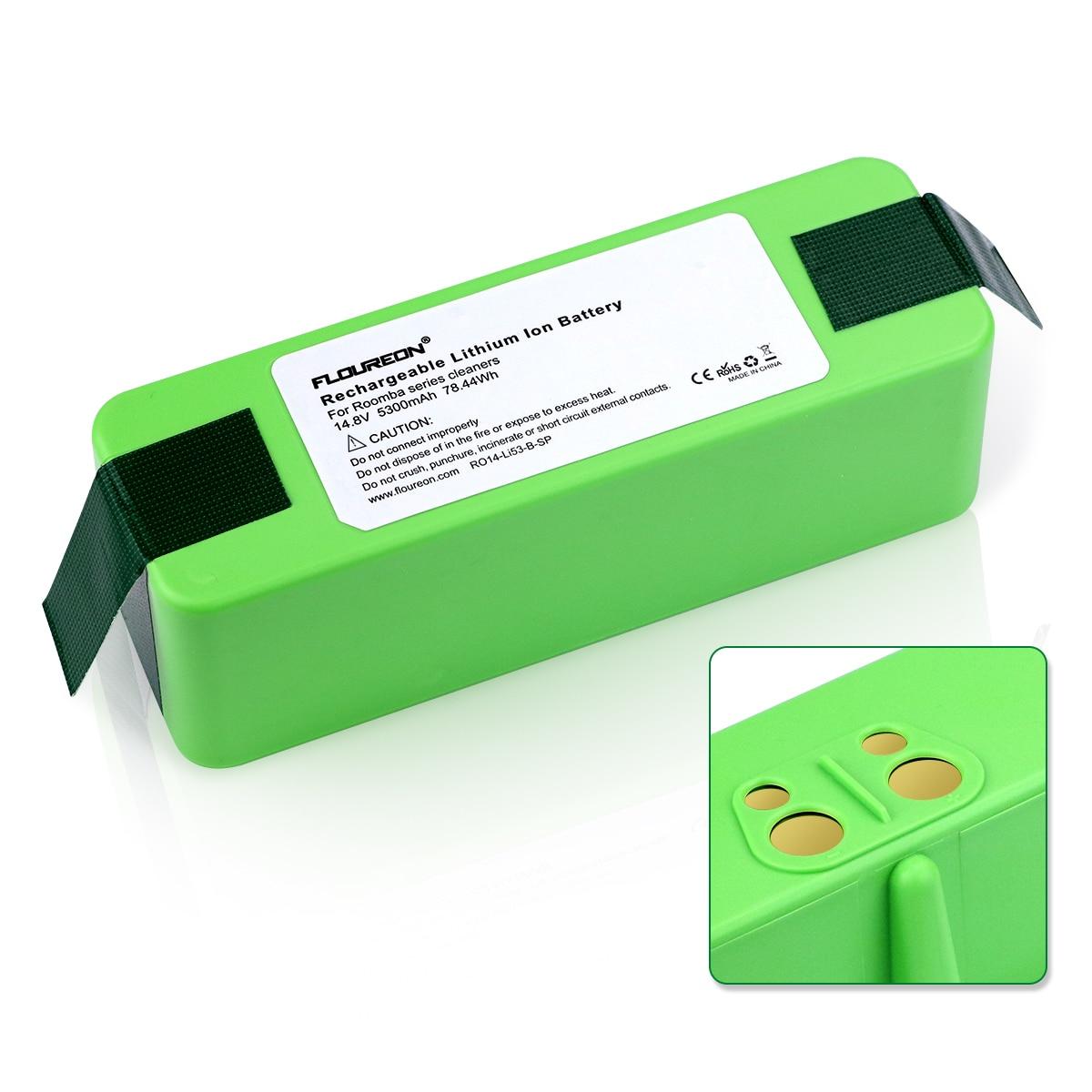 Batterie Li-ion Floureon 14.8 V 5300 mAh Compatible pour iRobot Roomba 500 600 700 série 800 couleur verte