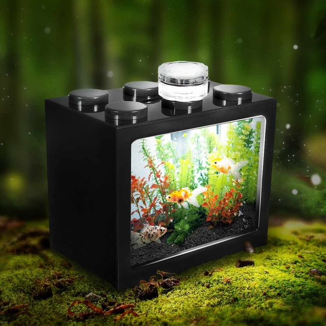 Mini Aquarium Fish Tank LED Light Lamp Betta Box Feed Desk Home Decor Baby Fish Breed Fish Isolation Box 3