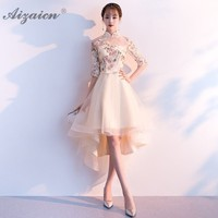 2019 Fasion Girl Cheongsam Modern Chinese Wedding Traditional Dress Short Qipao Party Dresses Bridesmaid Gown Robe Chinoise