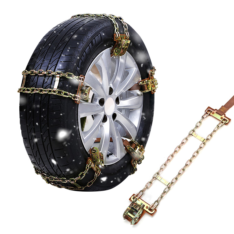 1pc Wear-resistant Steel Car Snow Chains Dual Chains Balance Design Anti-skid Chains For Ice/Snow/Mud Road Safe For Driving