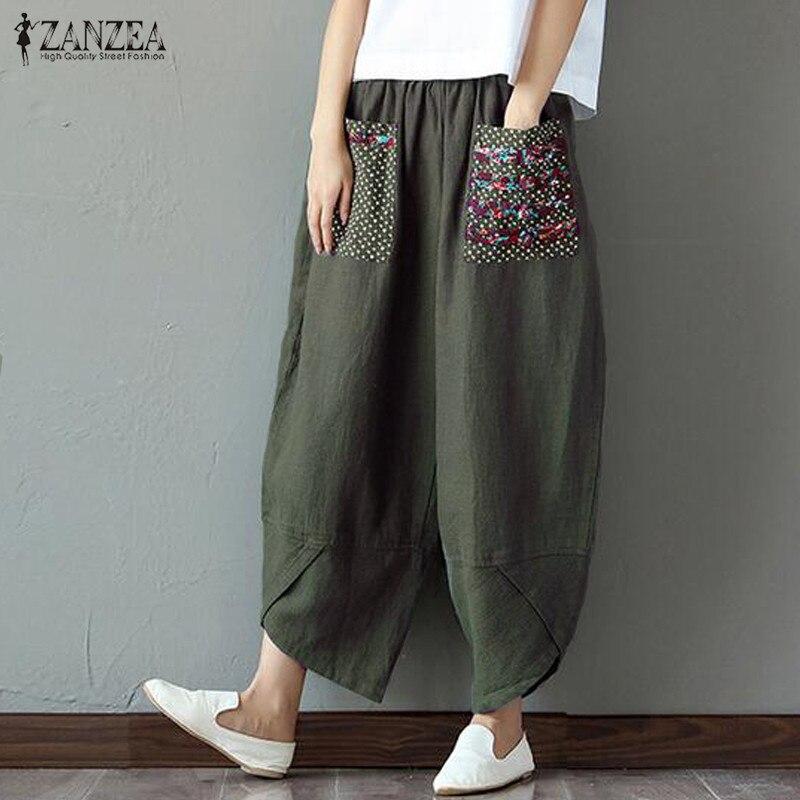 Plus Size Harem   Pants   ZANZEA 2019   Pants   Women Elastic Waist Casual Palazzo Female Vintage Patchwork Pantalon RetroTrousers 5XL