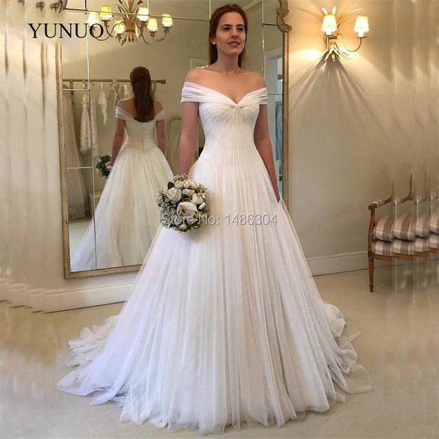 Vintage 2019 A Line Off Shoulder Wedding Dresses Robe de mariage Tulle Vestido  de noiva Bridal Gowns 11d71dfbd812