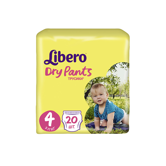 Трусики-подгузники Libero Dry Pants Size 4 (7-11 кг), 20 шт.