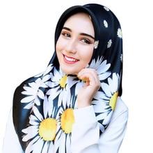 ZOGAA Blast scarf 90cm Little daisy print Generous towel womens event gift silk Malaysian headscarf