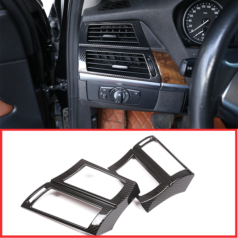 For BMW X5 X6 E70 E71 2008 2013 Car Accessories Carbon Fiber 2 Pcs ABS Car