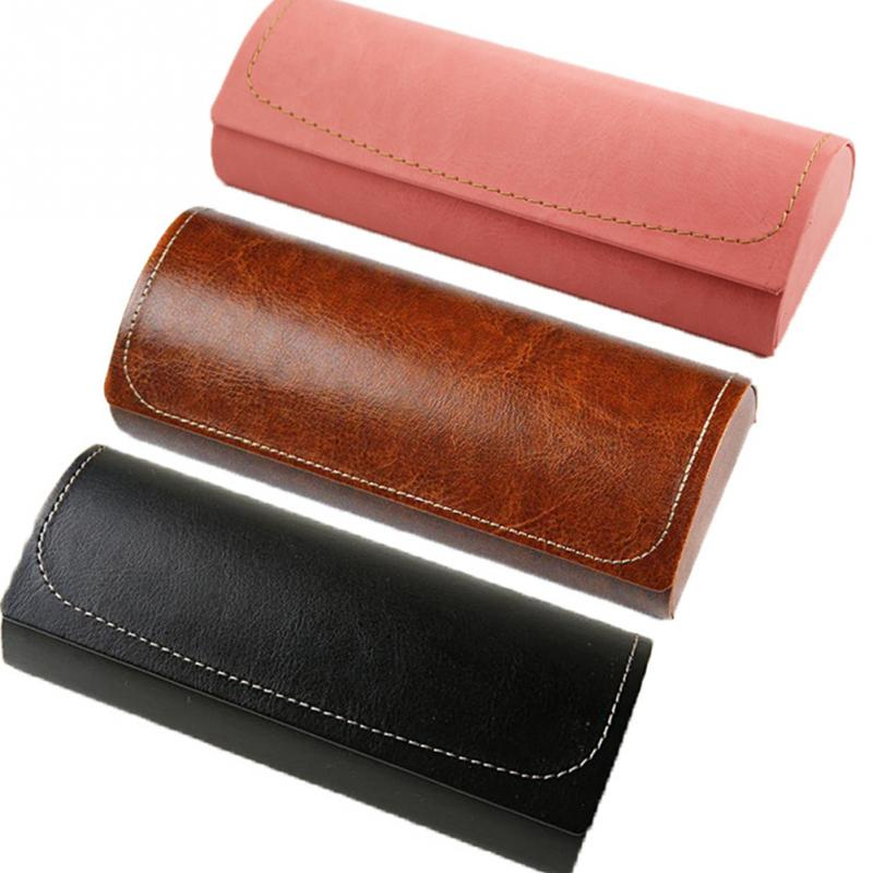 Hot Leather Glasses Case For Men Waterproof Hard Frame Eyeglass Case Women Reading Glasses Box Multicolor Spectacle Cases