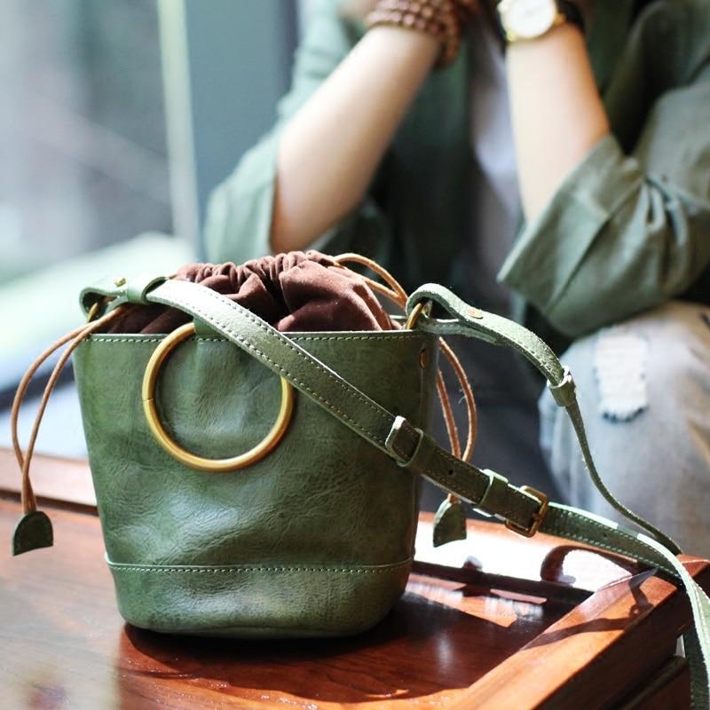 Vintage Fashion Small Women Leather Bucket Bag Handbag Metal Rings Drawstring Shoulder Bag Messenger Crossbody Bags PursesVintage Fashion Small Women Leather Bucket Bag Handbag Metal Rings Drawstring Shoulder Bag Messenger Crossbody Bags Purses