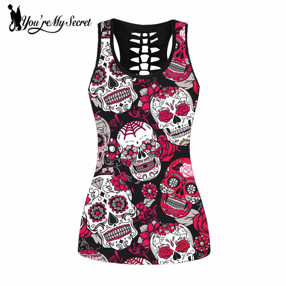 [You're My Secret] Sexy Slim Gothic Women Vest Summer Hollow Print Skull Rock Tank Tops Streetwear Hollow Out Punk Tops XXXXL