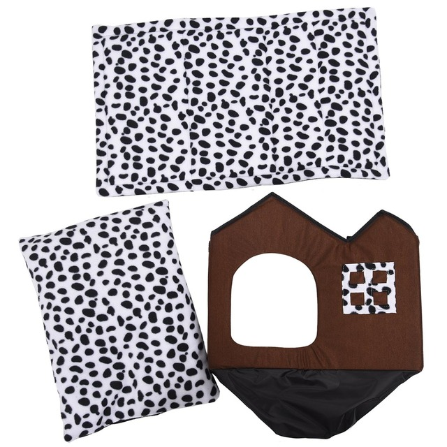 Double Brown Pet House and Bed