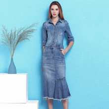 Nordic winds fashion denim dress female 2019 summer new lapel slim slimming ruffled split fork over hip mermaid dress NW19B6040 цена 2017