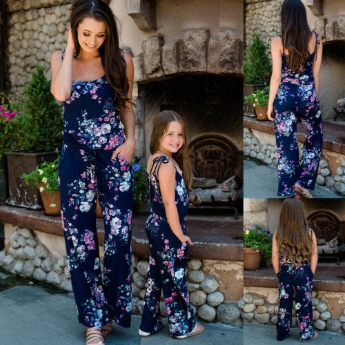 2019 mode maman et moi vêtements famille correspondant tenues maman et fille robe fille bleu marine Floral combinaisons