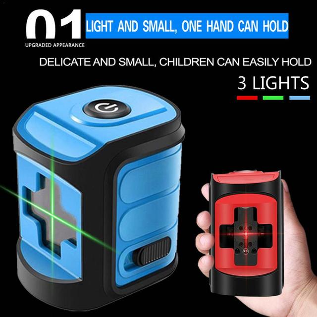 Mini Laser Level Outdoor Strong Light High-Precision Micro  Infrared  Level Red Blue Green Light 2 Line