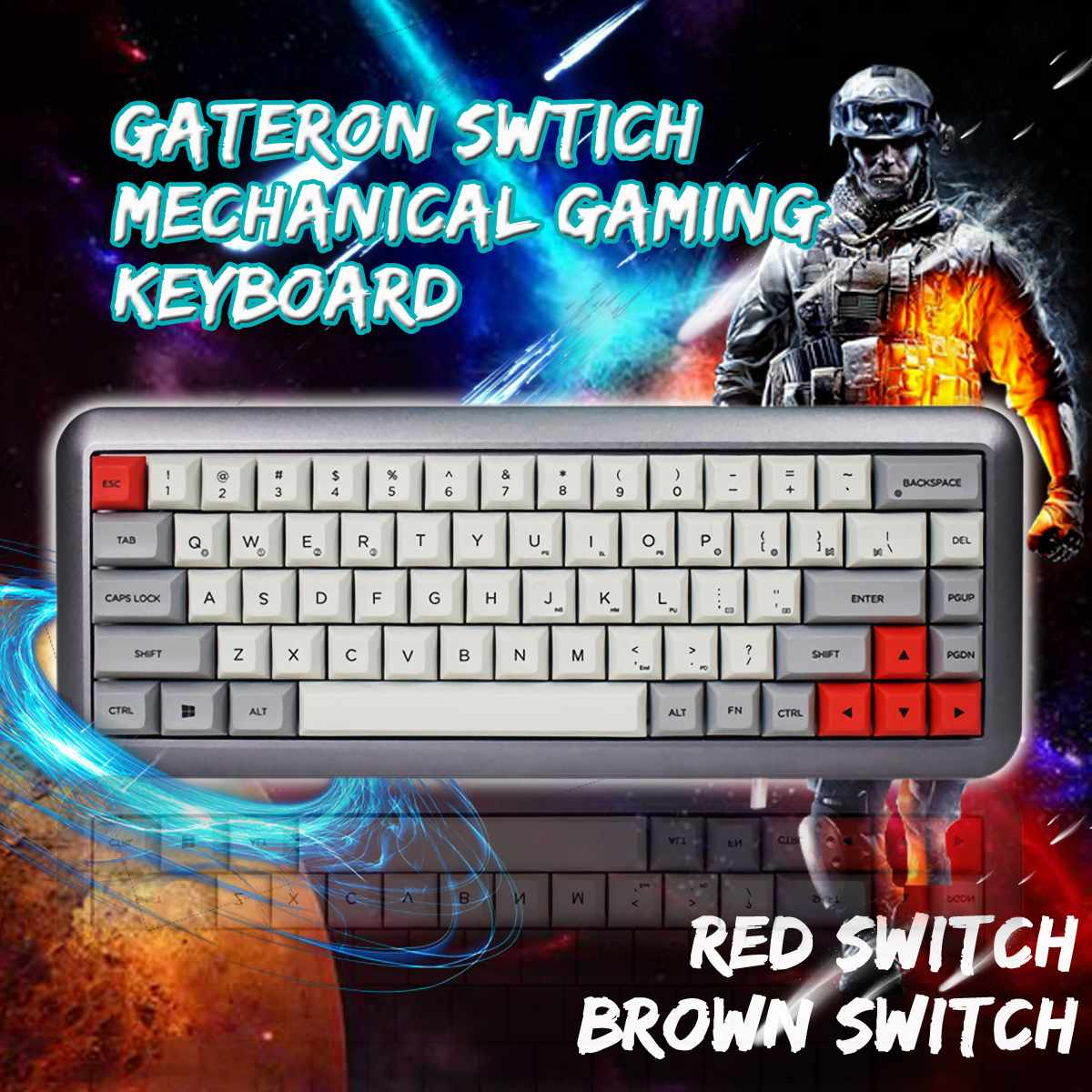 Gateron Switch DSA Profile Dye-sub PBT <font><b>Keycaps</b></font> GK68 <font><b>68</b></font> Key Hot-swappable Type-C Wired Mechanical Gaming Keyboard for-Mac OS Wins image
