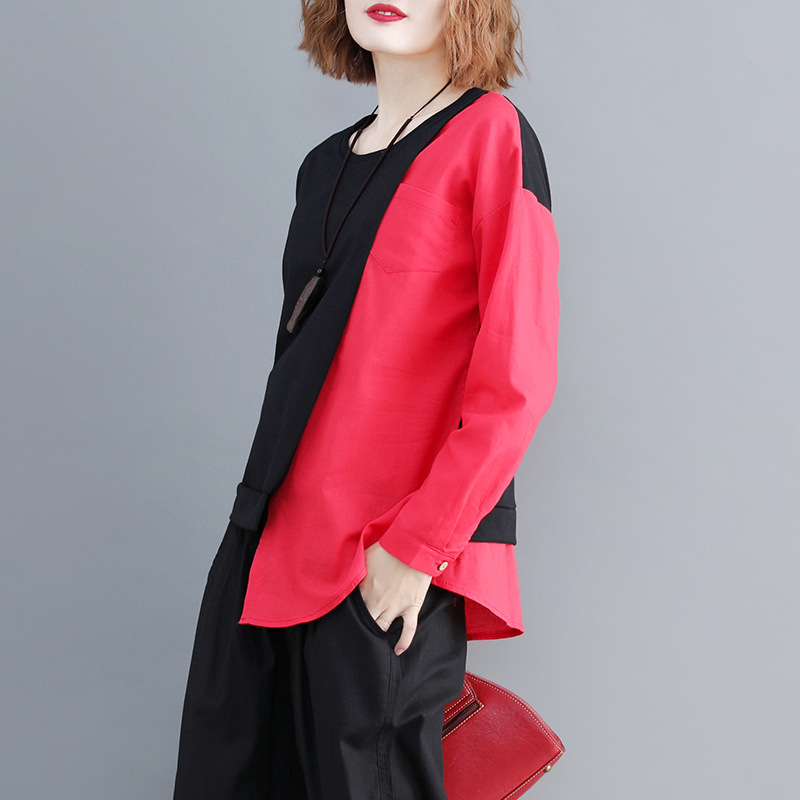 SHENGPALAE 2019 New Spring Casual Patchwork Long Sleeve Round Collar Irregular Hem Women Loose Big Szie Fashion T-shirt FL225 2