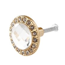 1pcs Crystal Glass Clear Round Pull Handle Glittering Rhinestone Knob for Cupboard Drawer Gold ews small 30mm clear crystal glass cupboard door knob