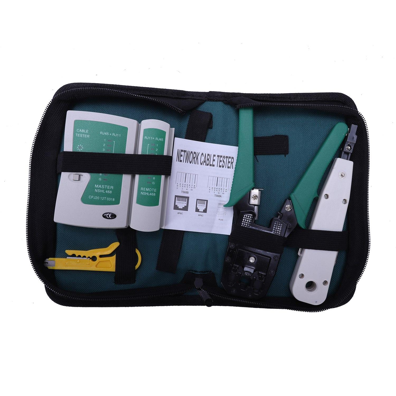 5Pcs/Set Network Ethernet Cable Rj45 Kit Crimper Crimping Tools Punch Down Rj11 Cat6 Wire Detector Qjy99-SCLL