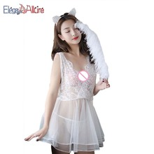 E&A Lady Sex Costume Nightdress Women Sexy Lingerie Lace Dress G-string Underwear Female Erotic Babydoll New Porno Sleepwear Set цена