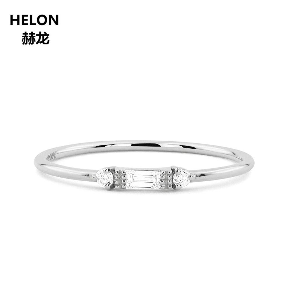 14 Karat Solid Weiß Gold Baguette Cut Natürliche Diamanten Frauen Ring Engagement Hochzeitstag Band Edlen Schmuck Vintage