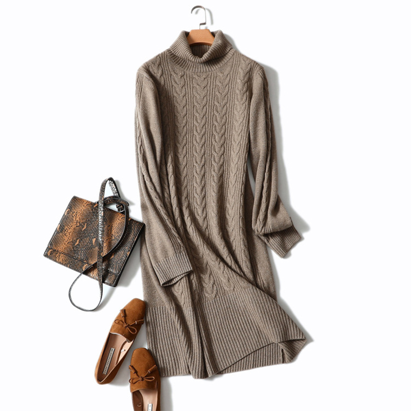 Shuchan Warm Women Sweater Dress 2018 Winter Long Quality 100% Cashmere Dresses Pullover Female Rib Knit Warm Sweater Ladies