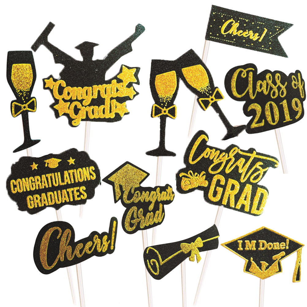 11pcs 2019 Graduation Party Decorations Cake Topper Cake Fruit Pick Decoration For Graduation Party Favors Supplies