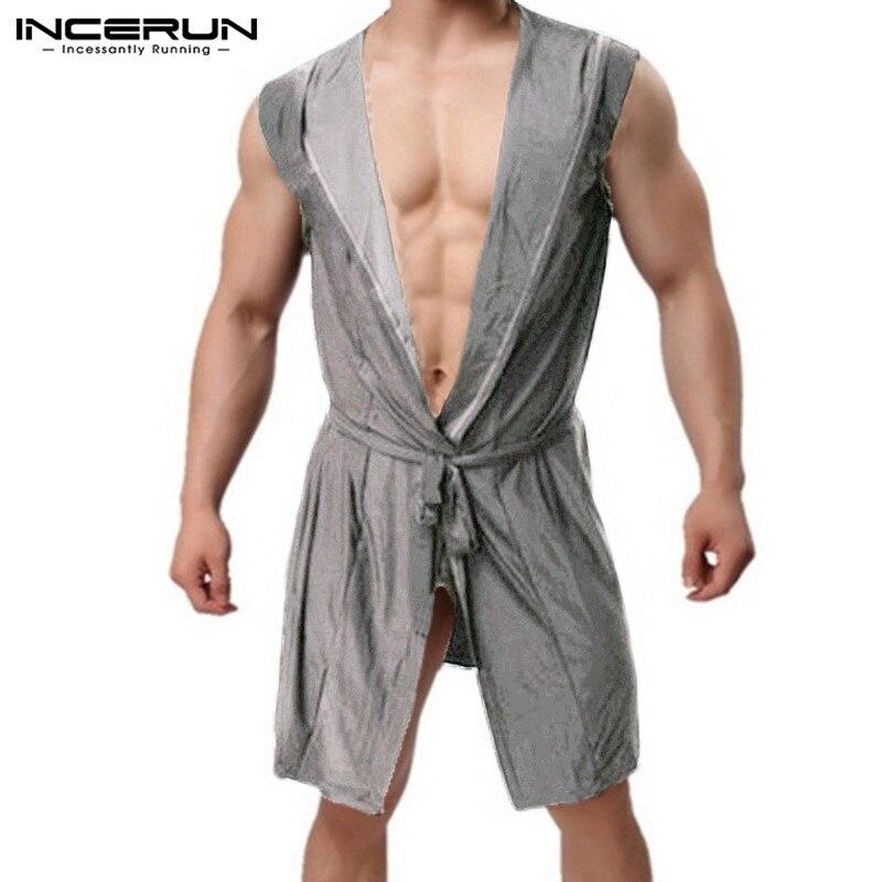 INCERUN 2020 Men Robes Pajamas Hooded Sleeveless Lapel Neck Men Bathrobes Sleepwear Men Robe Kimono Homewear Nightwear Men S-5XL