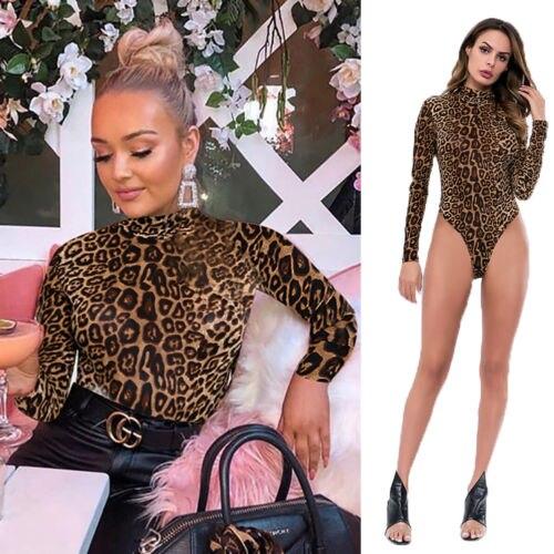 2019 New Sexy Womens Long Sleeve Turtle Neck Bodysuit Leotard Top Plus Size
