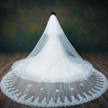 3 m/4 m/5 m marfim/branco 2 camadas borda do laço catedral longo véu de casamento nupcial + pente