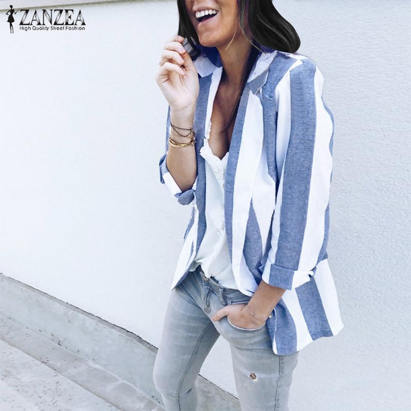 2020 Spring ZANZEA Women Striped Blazer Suits Female Business Work Wear Slim Coat Lady Blazers Jackets Outwear Autumn Casual Top