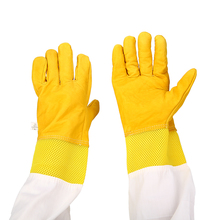 1 Pair Protective Beekeeping Gloves Goatskin Bee Keeping Vented Long Sleeves Equipment Synthetic Leather Glove