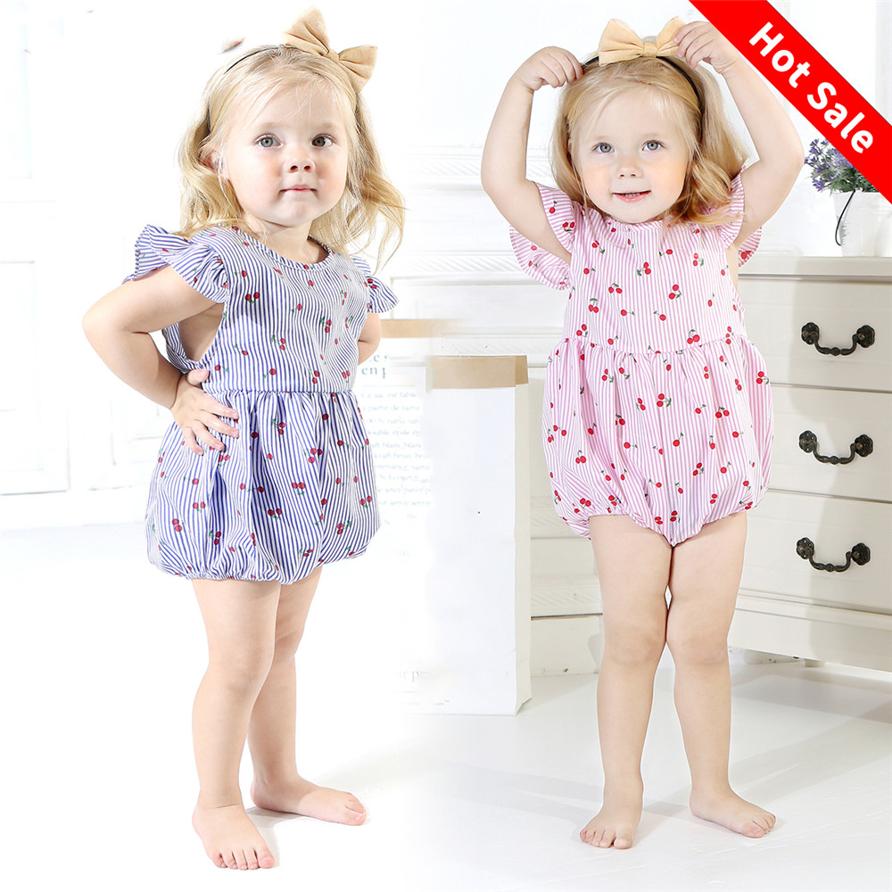 Newborn 0-18M Baby Girls Striped Cherry Fly Sleeve Romper Jumpsuit Playsuit Outfit Set Floral Clothes