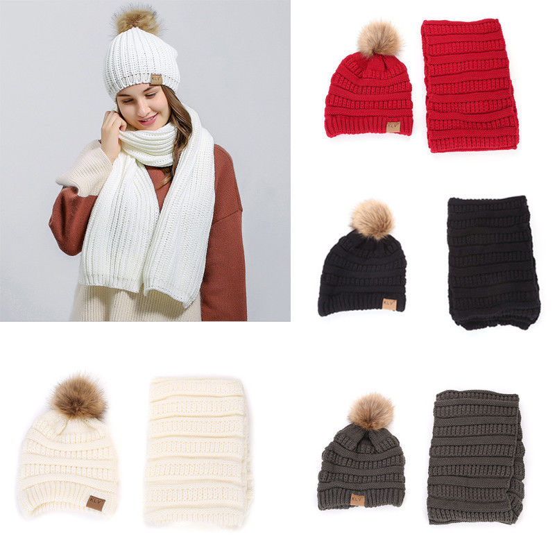 HOT Fashion Women's Solid Warm Winter Knit Beanie Hat+Scarf Crochet Ski 2pcs NEW