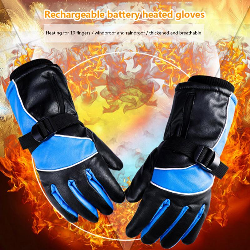 Windproof Rainproof Electric Thermal Motorcycle Gloves Breathable Thickened Rechargeable Battery Heated Gloves