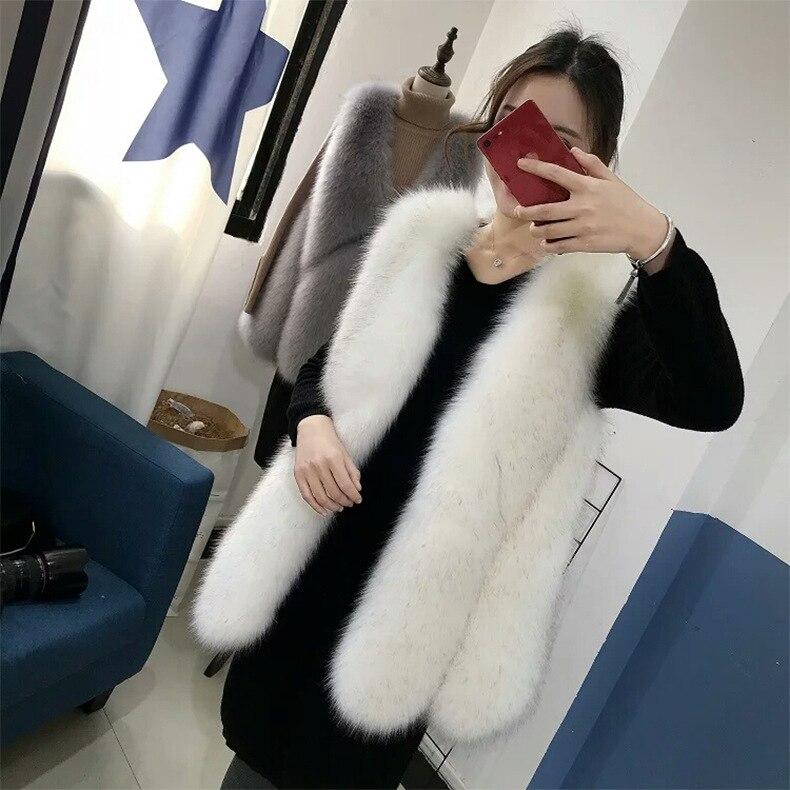 Gris blanc fausse fourrure Manteau mode femmes hiver 2018 charmant décontracté chaud mince sans manches fausse fourrure gilet veste Manteau Feminino