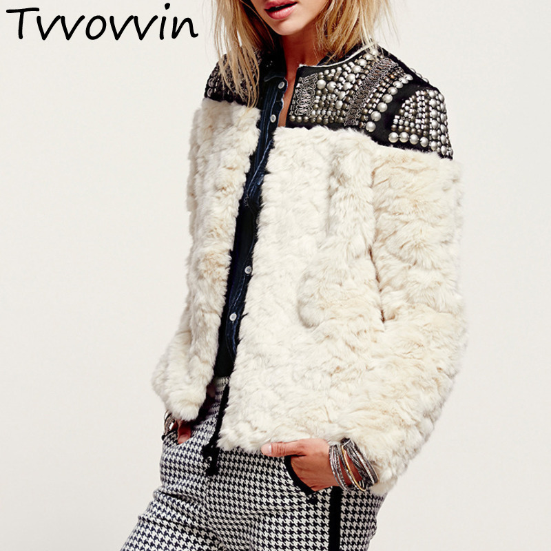 TVVOVVIN High Quality New Autumn Winter 2019 Rivet Patchwork Female s Rabbit Fur Coat Jaqueta Feminina
