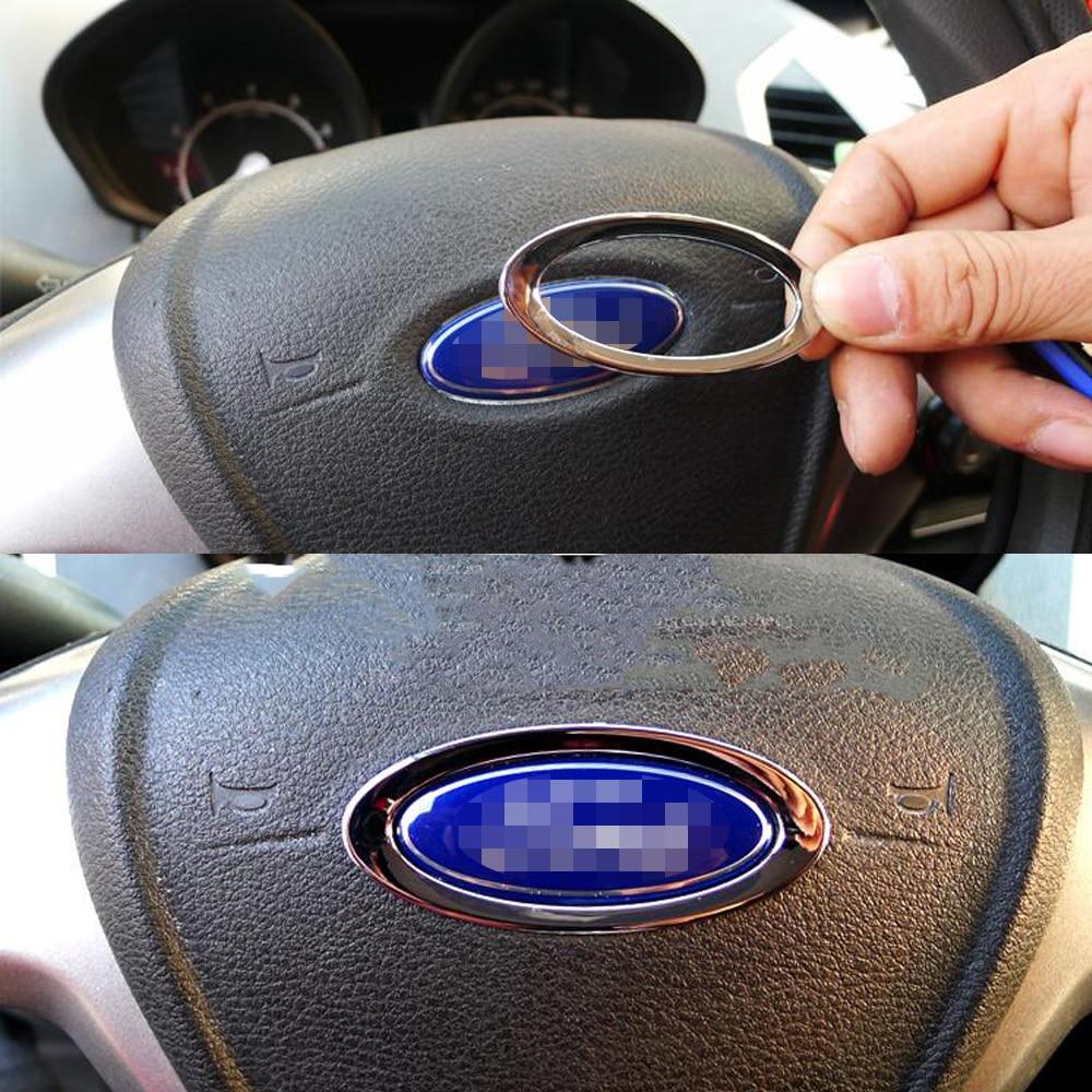 SPEEDWOW Car Silver Steering Wheel Decorative Circle Cover Trim 3D Sticker For Ford Focus 2 3 4 Fiesta Mondeo Car Accessories