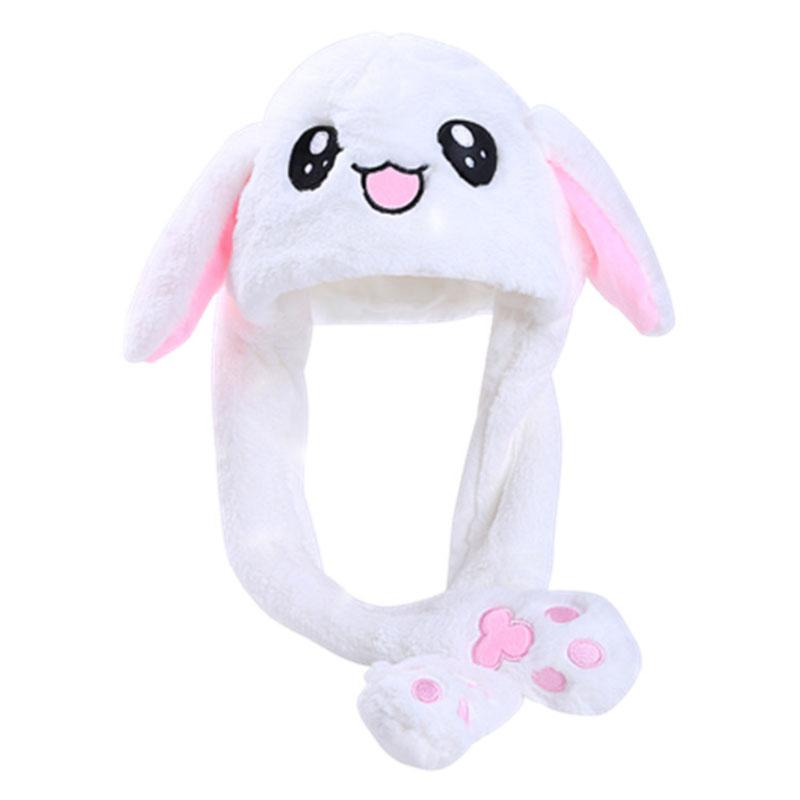 MISSKY 2019 Kids Cute Plush Rabbit Ear Hat Can Move Airbag Cap Toy Gift For Kids Girls Girlfriend Women Accessories