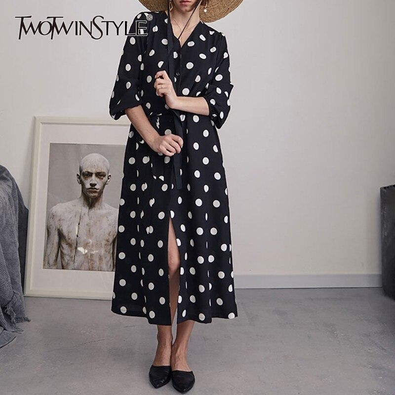 TWOTWINSTYLE Chiffon Polka Dot Dress Women V Neck High Waist Bandages Half Sleeve Long Dresses Female